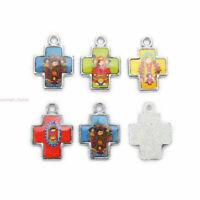 20Pcs Catholic Religious Crosses Doll Enamel Art Charms Medals Pendant Jewellery