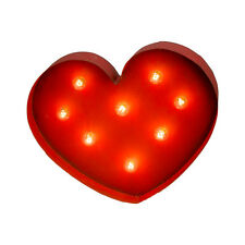 Heart Lighted Distressed Metal Sign Wall Decoration Valentine's Love - Small