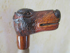 poignée de canne/parapluie -animal en bois sculpté main polychrome -chien 2