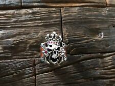 LEONARD KAMHOUT CHROME HEARTS SKULL KING ALLIGATOR WRAPPED RED RUBY SILVER RING