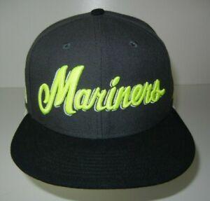 Nike True SEATTLE MARINERS Gray/Yellow MLB BASEBALL SNAPBACK HAT Team Fan Cap