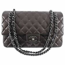 Chanel темно-серо-средний овчина классический двойной клапан сумка