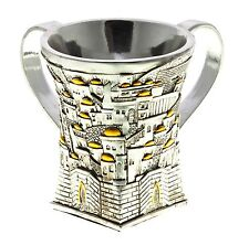 Uniqe Silver Plated Jewish Hand Cleaner Wash Cup Washing Cups Netialt Yadayim