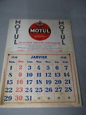 AL675 HUILES MOTUL CALENDRIER 1938 BON ETAT