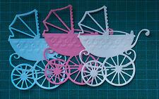 10 Baby carrozzina Card Topper Marianne Design Paper muoiono tagli Bianco Blu Rosa