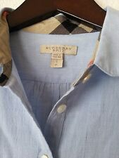 NEW BURBERRY BRIT WOMEN'S CHECK COLLAR COTTON BLUE BLOUSE TUNIC SHIRT TOP Sz S
