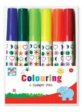 6 x COLOUR STAMPER MARKER PENS Heart/Star  Bullet Point Stamp Press KIDS ART SET