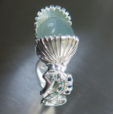 9.60cts Natural Cat's eye Aquamarine & Alexandrite Sterling 925 non tarnish ring