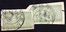 QV Judicature Fee Stamp 2x 3/- 3 Shillings on Piece Perfin Cancellation