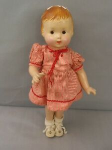 """Vintage 1930-40s COMPOSITION 14"""" Patsy type DOLL in original dress NEEDS TLC"""