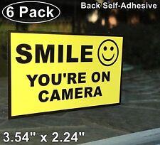 6 Home Business SMILE YOU'RE ON CAMERA Window Door Warning Vinyl Sticker Decal