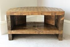 Rustic Handcrafted Chunky Reclaimed corner TV Unit stand In Walnut Wax