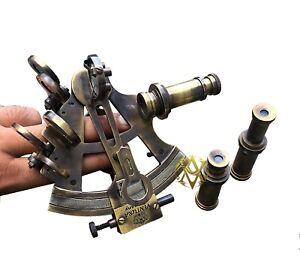 Valentine Antique Coating Brass Sextants Maritime Working Sextant w/ Telescope