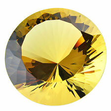New Yellow Cut Glass Large Giant Diamond Crystal Paperweights Jewelry Gift 100mm