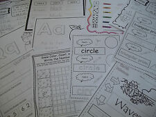260 Printed daycare business Kindergarten worksheets.  Phonics, Fry, 3-D Shapes.