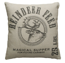 Christmas Throw Pillow Holiday Home Decor Reindeer Feed by Primitives by Kathy