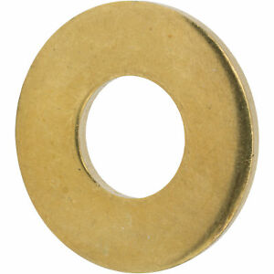 """1/4"""" Solid Brass Flat Washers Commercial Standard Grade 360 Qty 100"""