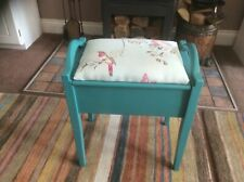 Shabby Chic vintage wooden Piano Stool Seat storage panted turquoise blue gc