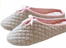 Elliz Womens Cotton Indoor Ballet Washable SLIPPER Medium Grey