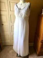 Wht Grecian Bch Wedding Dress Flattering Empire Waist Chiffon fits like size16W