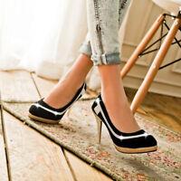 Women Slim High Heels Platform Sexy Shoes Rhinestone Slip On Party Prom Pumps