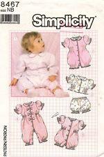1980's VTG Simplicity Babies Romper,Top,Panties  Pattern 8467 Size NB UNCUT