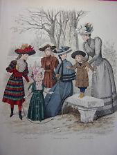 """61/ GRAVURE DE MODE """" Moniteur de la Mode Paris 1891 """".   Grand format 36x26"""