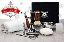 Luxury shaving set safety brush soap bowl scissors towel Christmas gift for men
