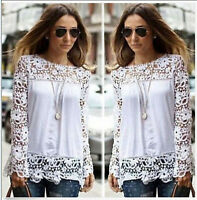 Fashion Women Sheer Sleeve Embroidery Lace Crochet Tee Chiffon