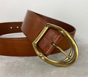 Ralph Lauren Women Sz Large Brown Leather Belt Gold Tone Buckle Runway Auth