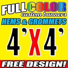 Custom 4' x 4' FT Banner 16oz Vinyl/Flex Outdoor premium Quality Advertise Sign
