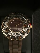GRACIE LYNN  QUARTZ WATCH.  NEW IN BOX W PAPERWORK BROWN AND JEWELS NEVER SET It