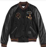 🔥Coach Classic Varsity Jacket Black Brown Wool Leather • Women's Sz 2 • $795
