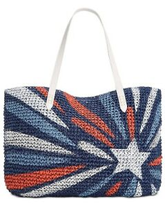 New  Inc Tropical Straw Tote Blue Star