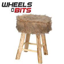 2x Modern Designer Foot Stool For Living Room Bedroom Brown Faux Fur Padded Seat