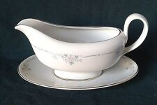 ROYAL DOULTON CLASSIQUE GRAVY BOAT PORCELAIN SAUCE JUG & STAND PINK AND BLUE