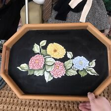 Vintage Wooden Serving Tray Floral Painted Blacl Loght Tan Yellow Pink Blue