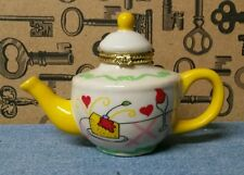 Porcelain Vintage Teapot Trinket Box with Cake and Heart Design