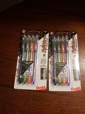 Pentel Sparkle Pop Metallic Gel Pen 1.0mm Blk/Green/Orange/Purple Lot of 2