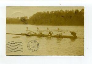 Antique 1905 RPPC photo, crew, people rowing, msg describes Kaiser Regatta
