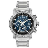 Citizen Eco-Drive Men's World Time Blue Dial Silver-Tone 44mm Watch AT9070-51L