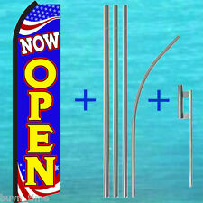Now Open Swooper Flag + Pole Mount Kit Tall Curved Flutter Feather Banner Sign