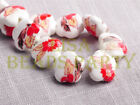 New 10pcs 15mm Flower Porcelain Ceramic Loose Spacer Beads Findings Red Flower