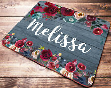 Custom Name Personalized Mouse Pad Red Roses Office Desk Accessories for Women