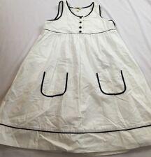 Cute Lands End Kids Size 12 Years White Button Sleeveless Pocket Sun Dress
