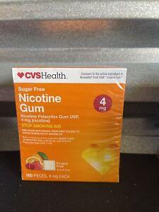 CVS Health Sugar Free Nicotine Gum 4 mg 160 Pieces Coated Fruit 06/2022++