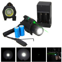 Hunting Flashlight Green/Red Laser Sight Scope Combo Picatinny Mount Set