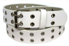 Men Women Double Grommet Holes Dress Casual Leather Belt 2Prong Removable Buckle