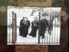 RARE Glass Old Magic Lantern Slide CATHOLIC Cardinal Logue+Fr Walton+Canon Bappy