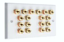 Speaker Wall Plate 9.0 18 Gold Binding Posts AV Audio Non-solder